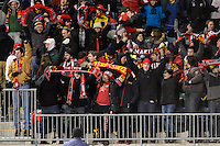 Maryland Terrapins fans celebrate a goal during the first half against the Virginia Cavaliers. The Maryland Terrapins defeated Virginia Cavaliers 2-1 during the semifinals of the 2013 NCAA division 1 men's soccer College Cup at PPL Park in Chester, PA, on December 13, 2013.