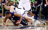 SOUTH BEND, IN - MARCH 04: Kaleena Mosqueda-Lewis #23 of the Connecticut Huskies and Michaela Mabrey #23 of the Notre Dame Fighting Irish battle for a loose ball at Purcel Pavilion on March 4, 2013 in South Bend, Indiana. (Photo by Michael Hickey/Getty Images) *** Local Caption *** Kaleena Mosqueda-Lewis; Michaela Mabrey