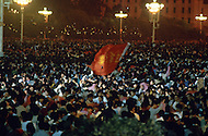 Beijing, China. October 1st, 1984.  Celebration of the 35th Anniversary of the Chinesse Revolution. The fireworks over Beijing and Tien An Men Square, went on for many hours.