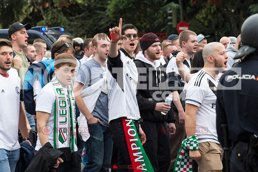 Legia Warszawa's supporters before the match of UEFA Champions League group stage between Real Madrid and Legia de Varsovia at Santiago Bernabeu Stadium in Madrid, Spain. October 18, 2016. (ALTERPHOTOS/Rodrigo Jimenez)