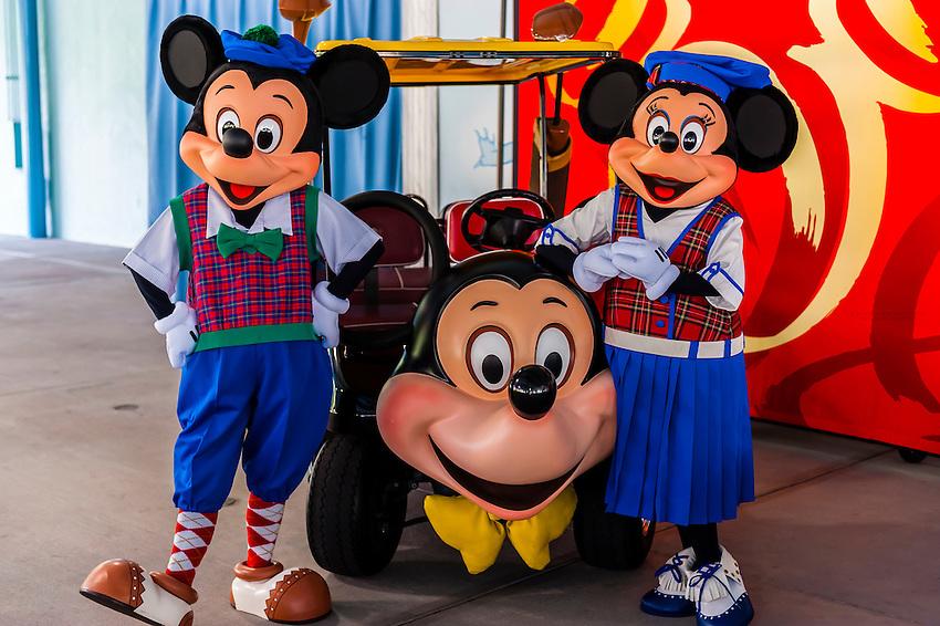 Mickey Mouse and Minnie Mouse, Fantasia Gardens Pavilion, Walt Disney World, Orlando, Florida USA
