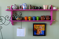 A simple shelf in one of the bedrooms has been painted fuschia pink and displays a collection of small pots