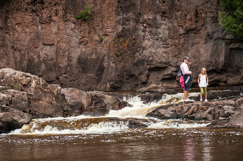 Hikers at Gooseberrry Falls State Park in Minnesota.