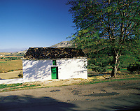 Small barn or farm building in the shade of a large tree in the Serrania de Ronda, southern Spai