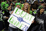 Seattle Seahawks fans display signs during th egame against the New Orleans Saints at CenturyLink Field in Seattle, Washington on December 2, 2013. The Seahawks beat the Saints 34-7 to take the best record team in the NFL.©2013. Jim Bryant Photo. ALL RIGHTS RESERVED.