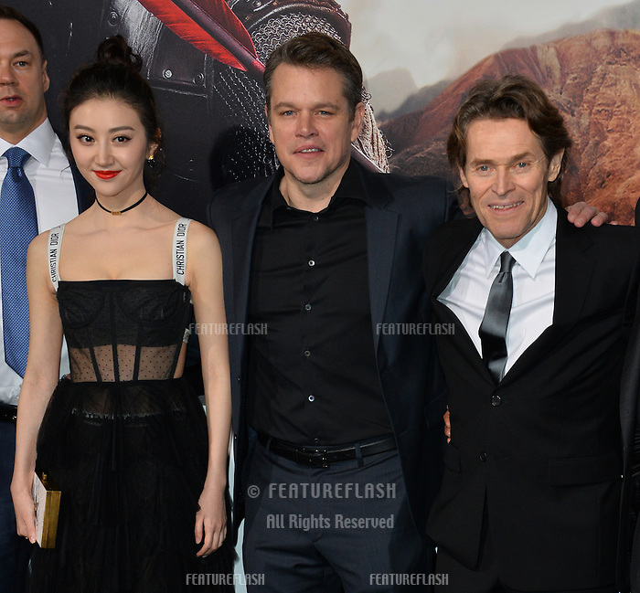 Jing Tian, Matt Damon &amp; Willem Dafoe at the premiere for &quot;The Great Wall&quot; at the TCL Chinese Theatre, Hollywood, Los Angeles, USA 15 February  2017<br /> Picture: Paul Smith/Featureflash/SilverHub 0208 004 5359 sales@silverhubmedia.com