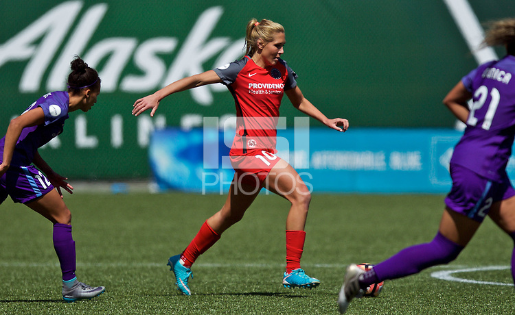 Portland, OR - Saturday April 15, 2017: Allie Long during a regular season National Women's Soccer League (NWSL) match between the Portland Thorns FC and the Orlando Pride at Providence Park.