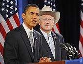 Chicago, IL - December 17, 2008 -- United States Senator Ken Salazar (Democrat of Colorado), right, listens as United States President-elect Barack Obama, left, announces his selection as Secretary of the Interior at a news conference in the Drake Hotel in Chicago, Illinois, USA 17 December 2008. Obama continues to put together his cabinet as he prepares to take office on 20 January 2009. .Credit: Tannen Maury - Pool via CNP