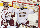 Steven Santini (BC - 6), Brian Billett (BC - 1) - The Boston College Eagles defeated the visiting Boston University Terriers 6-4 (EN) on Friday, January 17, 2014, at Kelley Rink in Conte Forum in Chestnut Hill, Massachusetts.