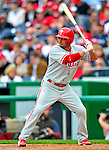 13 April 2009: Philadelphia Phillies' outfielder Shane Victorino at the plate during the Washington Nationals' Home Opener at Nationals Park in Washington, DC. The Nats fell short in their 9th inning rally, losing 9-8, as the visiting Phillies handed the Nats their 7th consecutive loss of the 2009 season. Mandatory Credit: Ed Wolfstein Photo