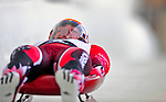 7 February 2009: Sam Edney slides for Canada in the Men's Competition at the 41st FIL Luge World Championships, in Lake Placid, New York, USA. .  .Mandatory Photo Credit: Ed Wolfstein Photo