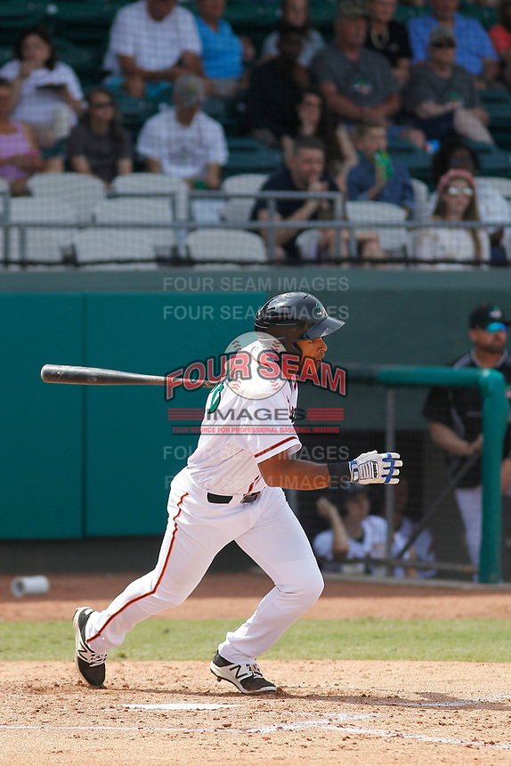 Down East Wood Ducks second baseman Luis La O (36) at bat during a game against the Salem Red Sox at Grainger Stadium on April 16, 2017 in Kinston, North Carolina. Salem defeated Down East 9-2. (Robert Gurganus/Four Seam Images)