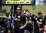 May 19, 2012; Topeka, KS, USA: NHRA top fuel dragster crew chief Aaron Brooks (left) and team owner Forrest Lucas during qualifying for the Summer Nationals at Heartland Park Topeka. Mandatory Credit: Mark J. Rebilas-