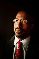 Los Angeles, California, October 23, 2011 - A portrait of Van Jones at his home in the Silver Lake area of Los Angeles. As Co-Founder and President of Rebuild the Dream, Jones is working on grassroots efforts to mobilize the left. Jones served as the green jobs advisor in the Obama White House in 2009 until resigning amid controversy over comments he made while an activist. He also holds a joint appointment at Princeton University as a distinguished visiting fellow in both the Center for African American Studies and in the Program in Science, Technology and Environmental Policy at the Woodrow Wilson School of Public and International Affairs.