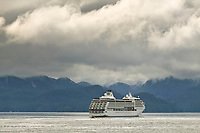 Cruise ship in Sitka Sound, coastal town of Sitka along the Alaska Inside Passage. A favorite stop for tourist.