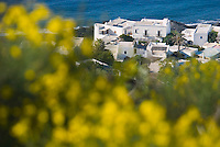 Stromboli, Eolian Islands, Italy, June 2006. White washed houses surrounded by lavish gardens contrast sharply with the black rocks on which they are built. The Volcanic Eolian Islands of Southern Italy offer a spectacular landscape for trekking while staying in picturesque towns. Photo by Frits Meyst/Adventure4ever.com