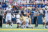 Annapolis, MD - SEPT 10, 2016: Navy Midshipmen linebacker Kevin McCoy (40) celebrates after a tackle for a loss during their match up against Connecticut at Navy-Marine Corps Memorial Stadium in Annapolis, MD. Navy held on to defeat Connecticut 28-24. (Photo by Phil Peters/Media Images International)
