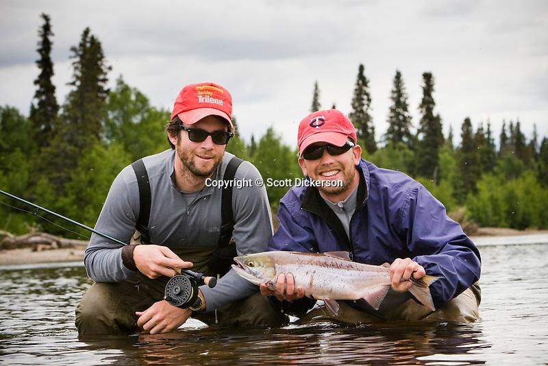 Sport fishermen with sockeye salmon on the koktuli river for Gustafson s smoked fish