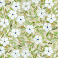 Jacqueline, a waterjet jewel glass mosaic, shown in Absolute white, Chalcedony, Peridot, and Quartz/Agate, is part of the Silk Road Collection by Sara Baldwin for New Ravenna Mosaics.