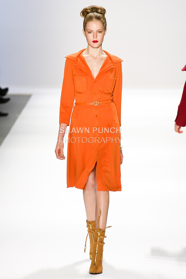 Linnea Regnander walks the runway in a Luca Luca Fall 2011 outfit, designed by Raul Melgoza, during Mercedez-Benz Fashion Week, February 10, 2011