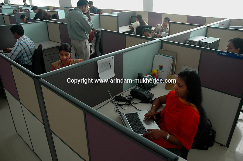 Indian software professionals at work in Wipro Bangalore office. Wipro is the second largest software company in the country and the head office is in Bangalore, Karnataka, India. Arindam Mukherjee