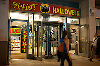 The Spirit Halloween pop-up store is seen in the Chelsea neighborhood of New York on Monday, September 26, 2011. Spirit Halloween, opened 850 stores last year nationwide is opening 970 this year. Landlords who used to resist short-term leases are embracing the concept to get income from empty retail property. (© Richard B. Levine)