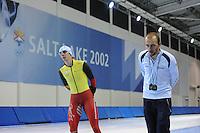 SCHAATSEN: SALT LAKE CITY: Utah Olympic Oval, 12-11-2013, Essent ISU World Cup, training, Bart Swings (BEL), Jelle Spruyt (trainer/coach Team Stressless), ©foto Martin de Jong