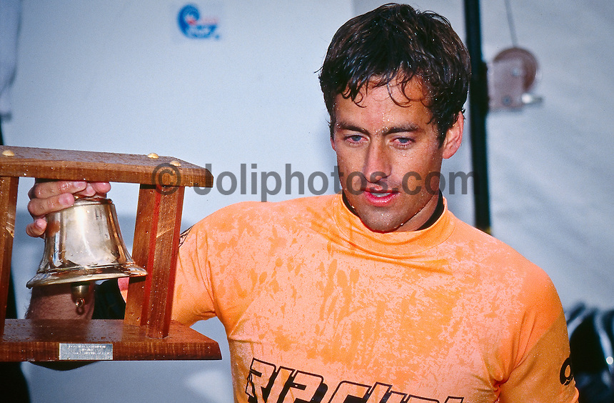 Tom Curren (USA) at the 1990 Rip Curl Pro at Bells Beach, Torquay, Victoria, Australia.  Curren won the contest on the way to wiining his second World Ttile. Dave MacAulay (AUS) was runner up in the event. Photo: joliphotos.com