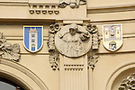 Details on the facade of the Municipal House in Prague, Czech Republic.