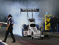 Jun 17, 2016; Bristol, TN, USA; NHRA top fuel driver Antron Brown during qualifying for the Thunder Valley Nationals at Bristol Dragway. Mandatory Credit: Mark J. Rebilas-USA TODAY Sports