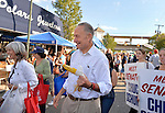 "Bellmore, New York, U.S. 22nd September 2013. U.S. Senator CHARLES ""CHUCK"" SCHUMER  (Democrat), running for re-election in November, eats corn on the cob during a campaign stop to the 27th Annual Bellmore Family Street Festival, featuring family fun with exhibits and attractions in a 25 square block area, with over 120,000 people expected to attend over the weekend."
