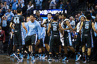 BROOKLYN, NY - Saturday December 19, 2015: The North Carolina Bench celebrates a swing of momentum against UCLA as the two square off in the CBS Classic at Barclays Center in Brooklyn, NY.