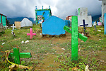 Crosses in a cemetery in Nabaj, Western Highlands, Guatemala