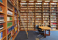 Library, with 20,000 books, 90% of which are German language publications, in the Maison de L'Allemagne or Germany House, or Maison Heinrich Heine, designed by Johannes Krahn, 1908-1974, and opened in 1956, in the Cite Internationale Universitaire de Paris, in the 14th arrondissement of Paris, France. The CIUP or Cite U was founded in 1925 after the First World War by Andre Honnorat and Emile Deutsch de la Meurthe to create a place of cooperation and peace amongst students and researchers from around the world. It consists of 5,800 rooms in 40 residences, accepting another 12,000 student residents each year. Picture by Manuel Cohen. Further clearances may be requested.