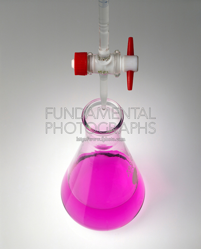 PHENOLPHTHALEIN INDICATOR<br /> (3 of 3)<br /> Titration Of an Acid with a Base <br /> The solution has gone beyond a pH of 9 and the phenolphthalein indicator has completely changed color.