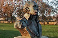 Bust of Toussaint Louverture, 1743-1803, slave turned leader of the Haitian Revolution and anti-slavery campaigner, by Ludovic Booz, inaugurated 2005, Bordeaux, Aquitaine, France. Bordeaux was a major slave trading port, deporting 130,000 African slaves to French territories abroad. With 508 slavery expeditions, Bordeaux was the second slave trading port in France after Nantes. Picture by Manuel Cohen