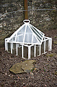 Traditional glass lantern cloche, Heligan, Cornwall, mid February.