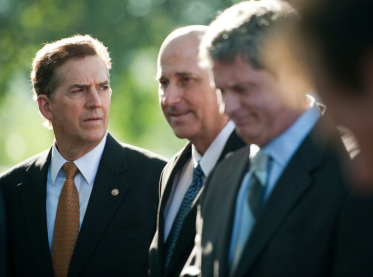 UNITED STATES - OCTOBER 5: From left, Sen. Jim DeMint, R-S.C., Rep. Louie Gohmert, R-Texas, and Sen. David Vitter, R-La., participate in a news conference at the Capitol on Wednesday, Oct. 5, 2011, to accept over 1.6 million petitions from American citizens who are urging Congress to immediately repeal Patient Protection and Affordable Care Act. (Photo By Bill Clark/CQ Roll Call)