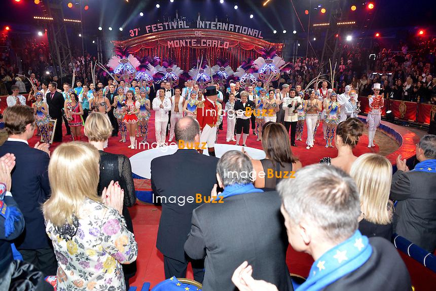 37th Monte-Carlo International Circus Festival Gala and Awards Ceremony. Monaco Princely family : Prince Albert of Monaco, Princess Charlene, Princess Stephanie, Pauline Ducruet and Pierre Casiraghi.