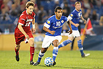 07 December 2012: Creighton's Jose Gomez (10) and Indiana's Joe Tolen (12). The Creighton University Bluejays played the Indiana University Hoosiers at Regions Park Stadium in Hoover, Alabama in a 2012 NCAA Division I Men's Soccer College Cup semifinal game.