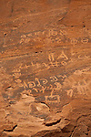 The writing and drawings left behind by the camel traders in Wadi Rum