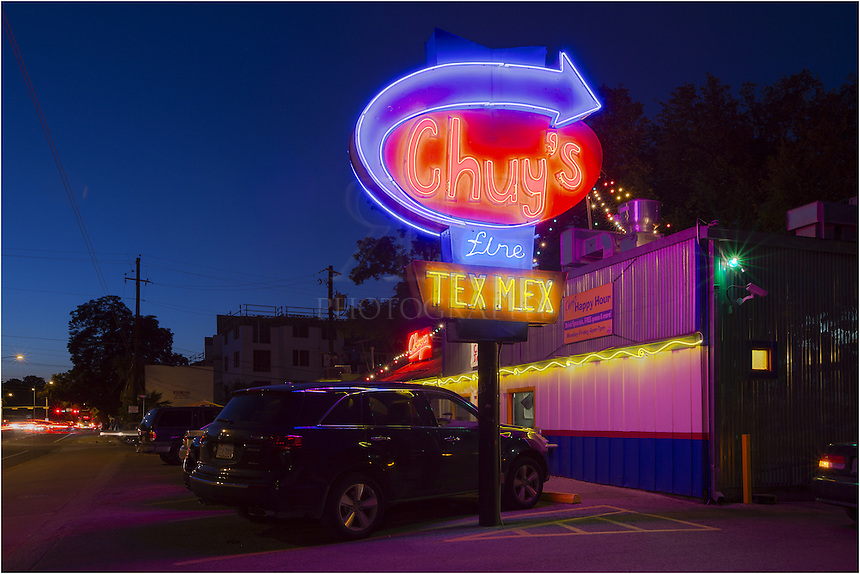The original Chuy's Tex-Mex joint in Austin, Texas, is a local icon, and is located on Barton Springs in the shadow of downtown. While this local establishment has expanded its borders, it is still famous for  good food and weird vibe. This Austin image was captured looking west on Barton Springs just after sunset.
