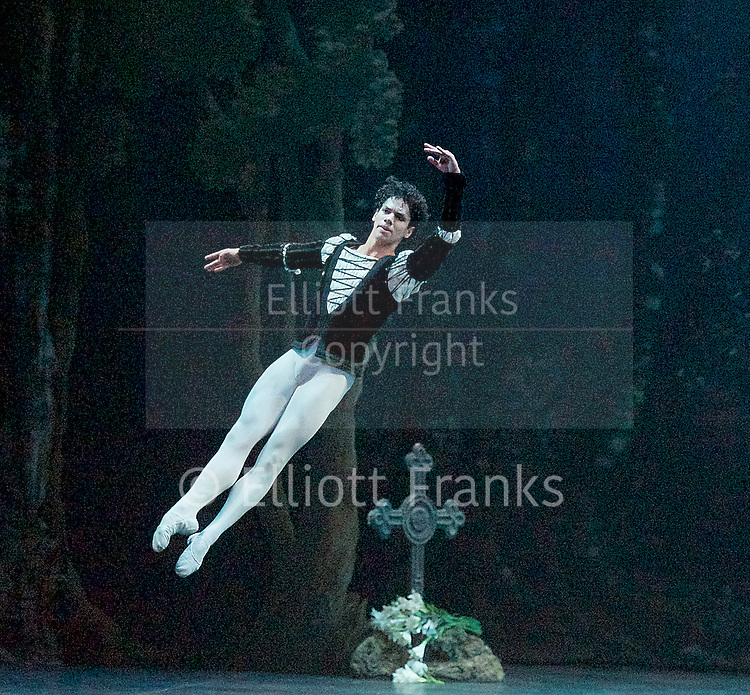 Giselle <br /> English National Ballet at The London Coliseum, London, Great Britain <br /> rehearsal <br /> 10th January 2017 <br /> <br /> <br /> <br /> Isaac Hernandez as Albrecht <br /> <br /> Photograph by Elliott Franks <br /> Image licensed to Elliott Franks Photography Services