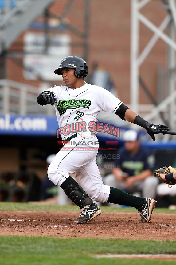 Jamestown Jammers catcher Deybi Garcia (7) at bat during a game against the Vermont Lake Monsters on July 12, 2014 at Russell Diethrick Park in Jamestown, New York.  Jamestown defeated Vermont 3-2.  (Mike Janes/Four Seam Images)