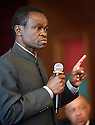 ABLI FORUM 2015. LILONGWE, MALAWI. DAY ONE. PATRICK LUMUMBA SPEAKS ON THE CULTURE OF CORRUPTION IN AFRICA.15/9/2015. PHOTO BY CLARE KENDALL.