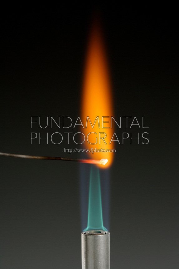 CALCIUM FLAME TEST(CaCO3)<br /> Orange-red flame indicates presence of calcium<br /> (Alkaline earth metal) Calcium compound is dissociated by flame into gaseous atoms, not ions. Atoms of the element are raised to excited state by high temperature of flame. Excess energy from the atom is emitted as light of a characteristic wavelength.