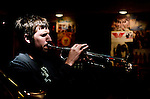 Matt Hartman on trumpet during a Rowan University Jazz at The Bus Stop Music Cafe gig.