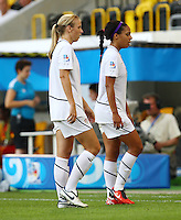 USA's Sydney Leroux (R) and Kendall Johnson react after the game during the FIFA U20 Women's World Cup at the Rudolf Harbig Stadium in Dresden, Germany on July 14th, 2010.