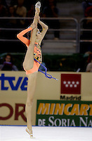 October 19, 2001; Madrid, Spain:  LAURA VERNIZZI of Italy performs with rope at 2001 World Championships at Madrid.