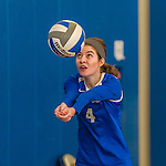 18 October 2015: Yeshiva University Maccabee Outside Hitter, Setter and team co-Captain Shana Wolfstein, a Senior from Burlington, VT, warms up prior to a game against the College of Mount Saint Vincent Dolphins at the Peter Sharp Center, in Riverdale, NY. The Dolphins defeated the Maccabees 3-0 in the NCAA Division III Women's Volleyball Skyline matchup. Mandatory Credit: Ed Wolfstein Photo *** RAW (NEF) Image File Available ***